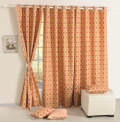 Door Curtains Set Of 2 Curtain Panels With Lining Digitally Printed Faux Silk 120cm X 210cm ,Beige And Orange