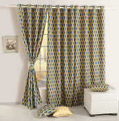 Door Curtains Set Of 2 Curtain Panels With Lining Digitally Printed Faux Silk 120cm X 210cm ,Beige And Blue