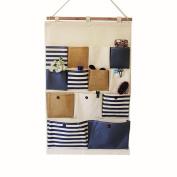 westeng Bag Linen/Cotton Fabric 13 Pockets Wall Hanging Storage Bag Organiser