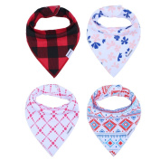 Storeofbaby 4 Pack 100% Soft Absorbent Cotton Cute Baby Bandana Drool Bibs with Adjustable Snaps for Boys Girls Gift Sets