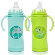 GoGlass Borosilicate Glass Baby Bottle Bundle Set With Sippy Cup Spouts (2) - 300ml (blue) and 300ml (green) 2 Pack - BPA Free - Best Feeding For Newborns, Infants, and Toddlers, Amazon Registry