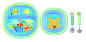 Munchkin Winnie the Pooh Toddler Dining Set - Blue Stripe . Plate, Bowl, Cutlery