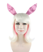 Easter Bunny Straight White & Pink Party Costume Wig HW-1083 Adult