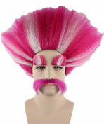 Trolls King Peppy+Bridget Pink & White Cosplay Party Costume Wig HM-110 Adult