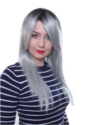 Prettyland C637 - smooth wig Ombre style colour smooth pony party - black-silver grey