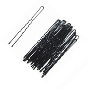 1 Pack of 36 Plain Black Waved Hairpins. Suitable for Dark Hair - Black
