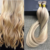 Full Shine 46cm 1g Per Strand 50g Per Package Blonde Ombre Hair Extensions Remy Ombre Colour Blonde #613/18 Highlighted I Tip Remy Hair Extensions Pre bonded I Tip Hair Extensions