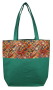 Digitally printed Brocade fashion bag 38cm x 41cm Faux Silk Dupion,GREEN,Totes Shopping bag