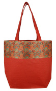 Digitally printed Brocade fashion bag 38cm x 41cm Faux Silk Dupion,RED ,Totes Shopping bag