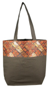 Digitally printed Brocade fashion bag 38cm x 41cm Faux Silk Dupion,CHOCLATE,Totes Shopping bag