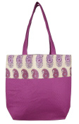 Digitally printed Brocade fashion bag 38cm x 41cm Faux Silk Dupion,PURPLE,Totes Shopping bag