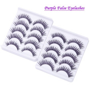 TianQin WY 10 Pairs Natural Look False Eyelashes Handmade Soft 3D Cross Fashion Fake Eyelashes Purple Long Thick Wispies Eye Lashes Extension For Makeup