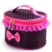 Covermason Portable Travel Makeup Pouch, Polka Dots Bow-Knot Cosmetic/Storage/Toiletry/Organiser Bag