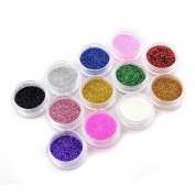 12 Pots Extra Fine Glitter Dust Powder Set - Nail Art Tips Decoration Manicure DIY