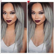 Cool2day® Long Silky Brown to Grey Straight Ombre Synthetic Wig JF1967