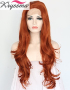 K'ryssma Natural Looking Auburn Wavy Wigs for Women Side Part Long Synthetic Lace Front Wig Half Hand Tied Heat Resistant Fibre 60cm