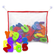 Bath foam letters and numbers with high quality toy storage organiser net - Non toxic educational and fun toy for kids!