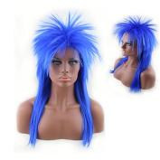 Women's 80's to the Maxx Spiky Rocker Wig Rock Star Blue Spiked Wig