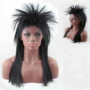Women's 80's to the Maxx Spiky Rocker Wig Rock Star Black Straight Spiked Wig Cosplay Wigs Party Hair for Black Women
