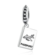 Passport Aircraft Travel Charms 925 Sterling Silver Aeroplane Beads for Pandora Charms Bracelet