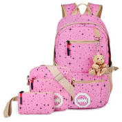 Teenage Girls Fashion Star Printing Haversack School Bag Canvas Casual Knapsack + Messenger Bag + Purse