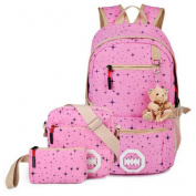 Teenage Girls Fashion Star Printing Haversack School Bag Canvas Casual Knapsack + Messenger Bag + Purse