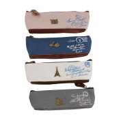 Stofirst 4 Pieces Students Canvas Zipper Pencil Case Pen Bag Fashion Retro Bicycle Motorcycle Camera Eiffel Tower Pattern Pencil Holder Cosmetic Bag
