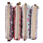 Stofirst 4 Pieces Students Pencil Case Fashion Retro Portable Pastoral Style Small Flower Pattern Stationery Pouch Cosmetic Bag