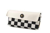 Stofirst Professional Student Large Capacity Checkerboard Pattern Canvas Pen Pencil Case Vintage Stationery Pouch Cosmetic Bag