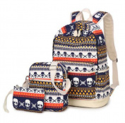 Teenage Girls Canvas Casual Daypacks Rucksack Skull Printing School Bag 37cm Laptop Backpack + Messenger Bag + Purse