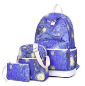 Teenage Girls Canvas Casual Daypacks Rucksack Starry Printing School Bag 37cm Laptop Backpack + Messenger Bag + Purse