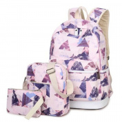 Teenage Girls Canvas Casual Daypacks Rucksack Graffiti Printing School Bag 37cm Laptop Backpack + Messenger Bag + Purse