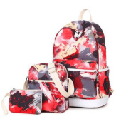 Teenage Girls Graffiti Pattern Casual Daypacks Rucksack Canvas School Bag 37cm Laptop Backpack + Messenger Bag + Purse