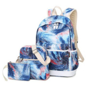 Teenage Girls Canvas Casual Daypacks Rucksack Graffiti Pattern School Bag 37cm Laptop Backpack + Messenger Bag + Purse