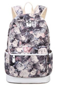 Teenage Girls Canvas Casual Daypacks Rucksack Flower Pattern School Bag 37cm Laptop Backpack