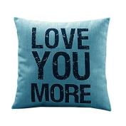Ikevan® Love you More Cotton Linen Cushion Throw Pillow Covers Pillowslip Case(46cm x 46cm )