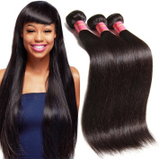 UNice Hair 7A Grade Peruvian Straight Virgin Hair 2 Bundles, 100% Unprocessed Remy Human Hair Weave Extensions for Women Natural Colour 95-100g/piece