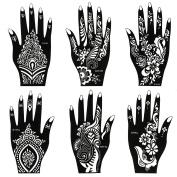 BMC 8pc Mehndi Henna Tattoo For Hand - 2 Colour Cones w/ 6 Template Stencils