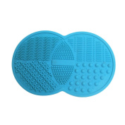 AENMIL Mini Makeup Brush Cleaning Mat Pad with 6 Suction Cups, Portable Double Circle Silicone Cosmetic Brushes Scrubber Washing Tool Fits Homeuse and Travel