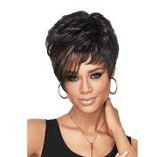 Aoert Short Black Synthetic Curly Wigs for Black Women 30cm Heat Resistant Wig