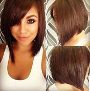 AmorWig Women . Nest Bangs Bob Silk Straight Brown Hair Wig for Daily / Cosplay