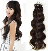 Romantic Angels22''(55cm) Remy Brazilian Micro Loop Hair Extensions Wavy Human Hair 0.5g/strand 100s/pack Medium Brown #4