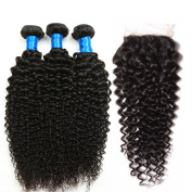 Superlove Brazilian Virgin Hair Curly Weave 3 Bundles With 1Pcs Lace Closure Free Part 4X4 Size 100% Unprocessed Human Hair Bundles Nature Colour (20 22 24+18)Inch