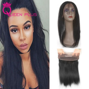 Queen Plus Hair Pre Plucked 360 Full Lace Band Frontal Closure (22×4×2) Natural Hairline & Adjustable Strap Straight Weave 7A Brazilian Virgin Natural Black Human Hair