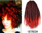 Marley Afro Braid Ombre Hair Extensions, Kinky Curly Bulk Twist Crochet Braids 32 Strands/ Pack, 100g