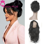 Queen Plus Hair Pre Plucked 360 Full Lace Band Frontal Closure (22×4×2) Natural Hairline & Adjustable Strap Body Weave 7A Brazilian Virgin Natural Black Human Hair