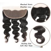 FeiBin Hair 33cm x 10cm Brazilian Body Wave Lace Closure Bleached Knots Natural Colour 100% Virgin Human Hair Closure Free Part Lace Closure
