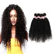 Fabeauty Brazilian Unprocessed Remy Hair 4 Bundles Kinky Curly Wave Virgin Human Hair Weave Curly Wave Hair Bundles Natural Black Mixed Length 400g 10 12 14 36cm