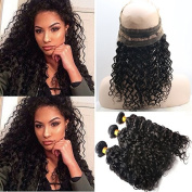Foxys' Hair 360 Band Lace Frontal Closures With Bundles 3pcs Brazilian Virgin Curly Hair 360 Full Lace Frontal Natural Colour