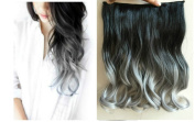 43cm 120grams Thick One Piece Half Head Wavy Curly Ombre Clip in Hair Extensions (Col. Natural black/Grey) DL
